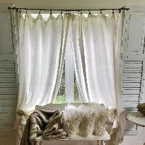 Long linen curtains