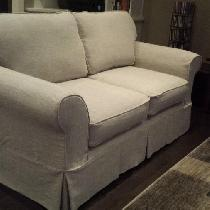 Custom made Slipcover in Mixed Natural Linen