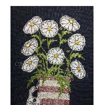 OOPS a DAISIES - raw edge applique designed and stitched by me using doggie bag linen pieces