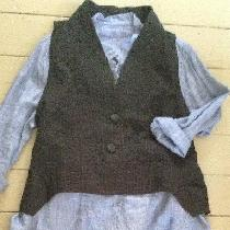 Blue chambray linen shirt, linen blend vest, and gray linen pants. Various patterns used inspire...