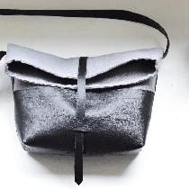 Randee, Linen + leather roll top handbag made wi...