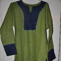 Viking outer tunic made with Green and Cobalt Blue 4C22 Linen  Top stitching is hand done