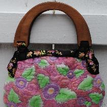 Mary, Hand painted & embroidered linen purse.
