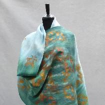 Handkerchief linen (IL020 bleached, softened) shawl, hand dyed with fiber-reactive dyes. Embelli...