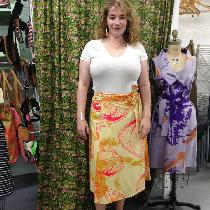 Linen wrap skirt. Hand dyed with marigolds and screenprinted with hot pink coconuts and mustard...