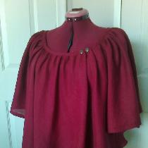 Bias cut blouse with raglan sleeves in IL020 BEET RED