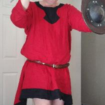 Medieval tunic in crimson and black.  This was my first garment.   One of the sleeves is folded...