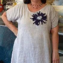 My petal dress using IL019 natural and purple linen. This is an original design using a pattern...