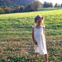 Simple Linen Flower Girl Dress with hand stitched neckline.