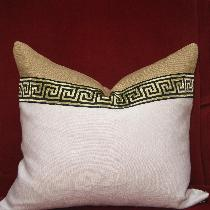 Two tone linen pillow with greek key trim