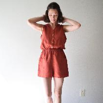 Button-up romper with deep front pockets and elastic waist made with Sedona - middle weight.