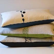 Hand silk-screened pillows made with medium weight softened linen