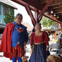 I used your linen for my medieval Wonder Woman dress and my husband's Sir Clark of Kent doublet....