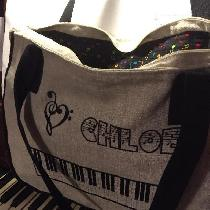 PIANO BAG  made with natural and black linen, lined with music note print cotton.