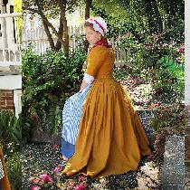 1770s style outfit - English-back gown, shift, petticoat, and cap are linen, apron is linen/cott...