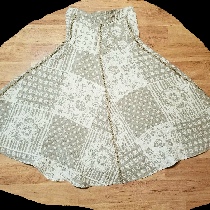 Paneled skirt with trim