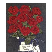ROSES - raw edge applique designed and stitched by me using doggie bag linen scraps
