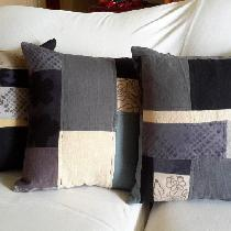 These pillows were made with my precious linen scraps, both commercially dyed and hand dyed with...
