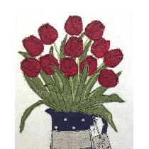 TULIPS TU-YOU - designed and stitched by me using doggie bag pieces