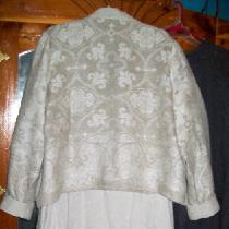 Back of my jacket made with jacquard linen, with  a slip dress made with middle weight natural m...