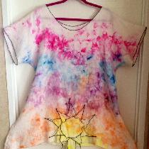 Here is my Sunset tunic. I used the natural linen and then ice dyed it to make this lovely sunse...