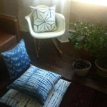 I dream in blue! Pillows featured are Japanese Shibori patterns hand dyed in indigo on bleached...