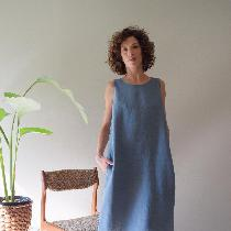 The shell dress in medium weight blue bayou - www.etsy.com/shop/shieldsdesignhouse
