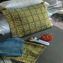 Geometric handblock printed linen pillow.  Gold linen printed piece from doggie bag scrap and bl...