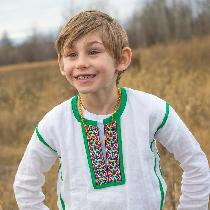 Elise, Ukrainian-style shirt.  He wanted to loo...