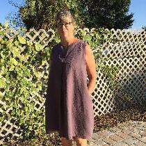 Bib dress with front pleat, medium weight linen