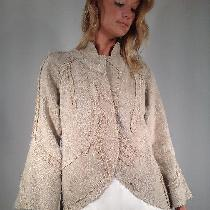 Linen jacket with free form appliqués.The applied