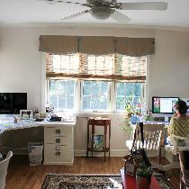 This is a full view of my client's office with the linen valances and faux wood blinds.  You can...