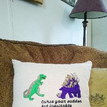 Firefly Tribute pillow. Machine embroidered on linen.