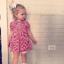 Little toddler dress with pleating and embroidery