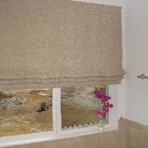 This a Roman Blind in IL002 Ivory-Natural Daisy Print made in the Traditional way with ivory nap...