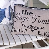 Blue Cottage Creations has created a family pillow with the year the marriage was established a...