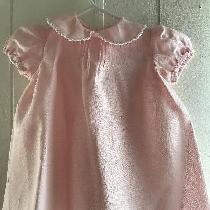 Light Baby Pink Dress With Shirred Sleeves. White Tatting On Peter Pan Collar And Hem. Forceps O...