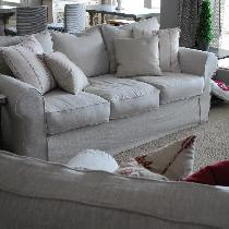 I slipcovered my family room couch and two chairs out of the 4C22 Mixed Natural Softened linen....
