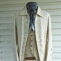 A corse linen 1770s men's sleeves waistcoat with cotton liner. The inner seams are machine sewn...