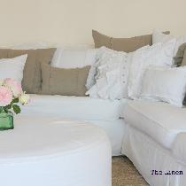 Trish, Collection of linen pillows in various s...