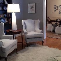 Wing chair slipcovers with flat flange outlining and dining room chair skirts in white and mixed...