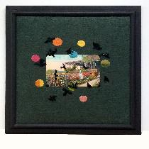 I have combined a vintage postcard with my hand-embroidery on linen.  Some of the ravens are sti...