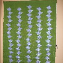 This Roman shade is made with 4C22 Green softened linen machine embroidered with rows of lilacs....