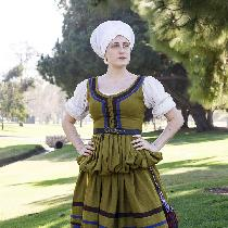 I based this dress on an image of a 16th century Ger­man working class woman wearing a dress wit...