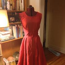 K, I used a bright red linen to make this r...