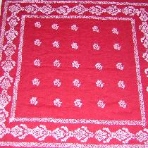 This is a red medium weight linen cut into a 34