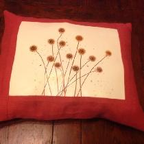 I made this pillow with Fabrics Store's Cardinal linen. I used a photograph of Scabiosa, a seed...