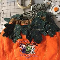 Trick or Treat pumpkin bag,   embroidered Halloween design  made with orange pixie.emerald green...