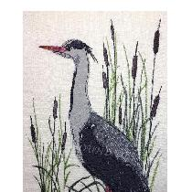 HERON - designed and stitched by me using doggie bag pieces