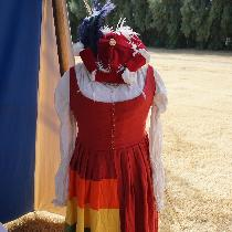 LGBTQ Pride 'trossfrau' gown, based on Swiss/German gowns from the early 16th Century. Hat &...